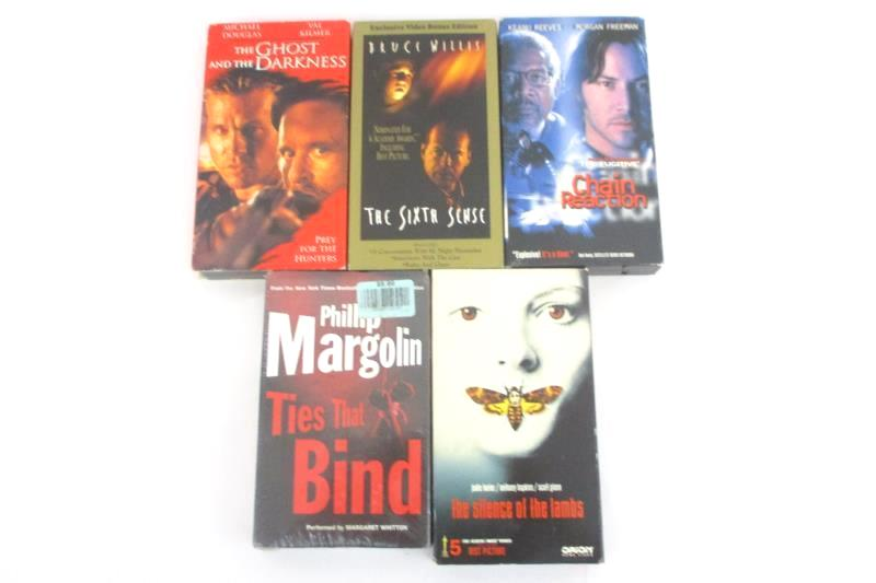 Lot Of 5 VHS Tapes Sixth Sense, Silence Of The Lambs, Ghost The Darkness, Chain