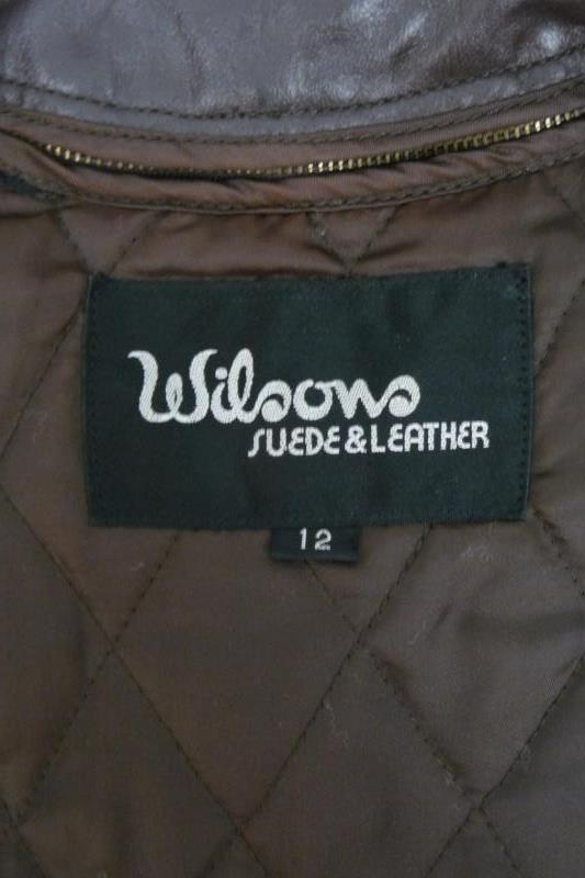 Wilson's Suede & Leather Women's Brown Leather Coat Button Front Sz 12 Jacket