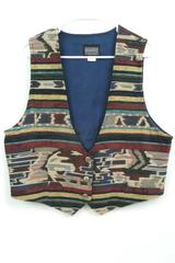 Vintage Roughrider Circle T Women's Multi Color Western Cowgirl Vest Size XL USA