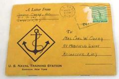 Vintage 1943 US Naval Training Station Sampson New York Letter & Booklet