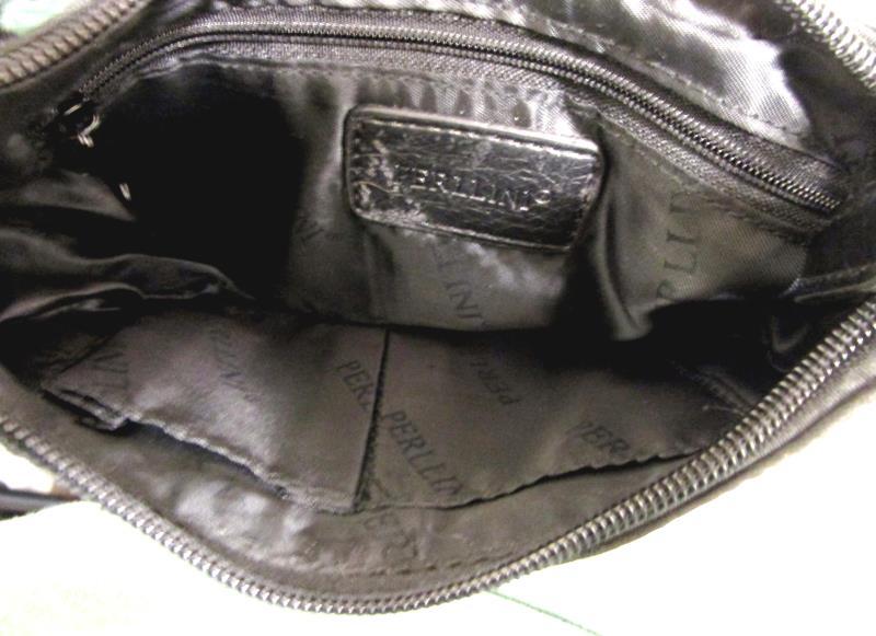 Perllini Hand Purse Shoulder Snap And Zipper Closure Black 9'' Across