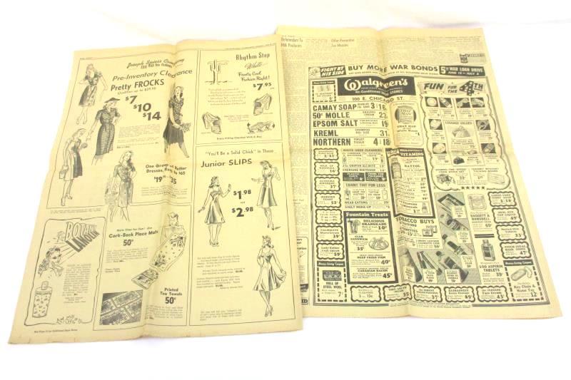 Vintage June 29th 1944 The Elgin Daily Courier Newspaper British Caen Battle