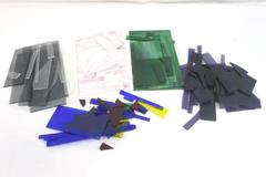 6.3 lbs Stained Glass Pieces - Purple, Clear, Green, Blue, Black, Red, Yellow.
