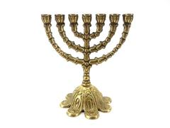 "Vtg Brass Menorah 7-Branch 5.5"" Tall Traditional Olive Design JERUSALEM"