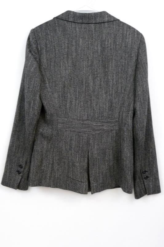 Caslon Women's Four Button Front Charcoal L/S Career Blazer Jacket Size 8 Tweed