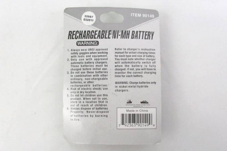 2 Pack of Chicago Electric Rechargeable NiMH Batteries Size C #90149