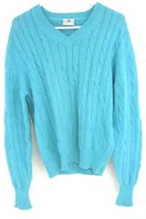 NORSPORT Blue Long Sleeve Solid V Neck Sweater Size M 100% Cotton