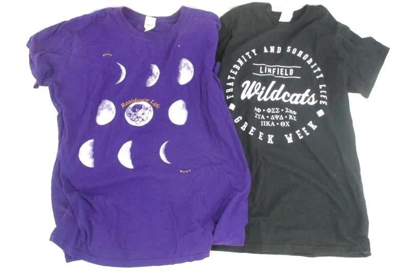 Linfield College Lot of 2 T-Shirts Black Purple 25th Anniversary Greek Week