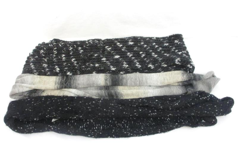 Lot of 3 Wool Knit Black Gray Tan Infinity Scarves Scarf One Size