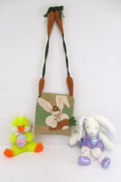 3 Easter Basket Stuffers Plush Ballerina Bunny Yellow Ducky Crossbody Purse