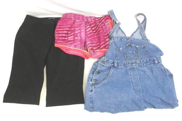 Lot of 3 Women's Pants- Pink Athletic Shorts, Black Slacks, Light Denim Overalls