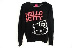 Hello Kitty by Sanrio Pink Black White Striped Sweater Juniors Sz Large