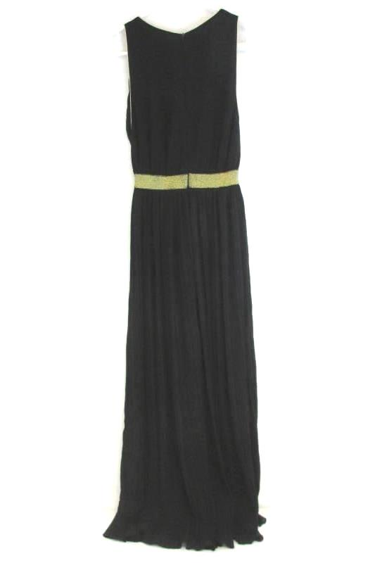 Women's Size Small Long Black Chiffon Costume Dress Halloween Gold Piping