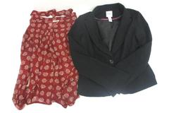 Lot of 2 Women's XL Career Tops Candie's Blazer Black Pleione Chiffon Red Tan