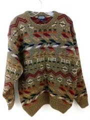 Vtg 90s LANDS END Pullover Sweater Crewneck 100% Shetland Wool Pattern Mens S