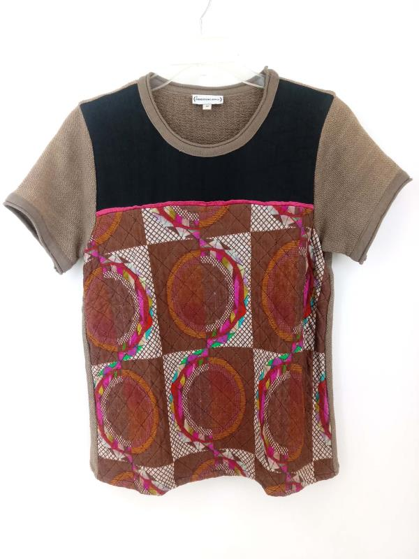 CONDITIONS APPLY Short Sleeve Top Printed Quilted Colorful Boho Womens M