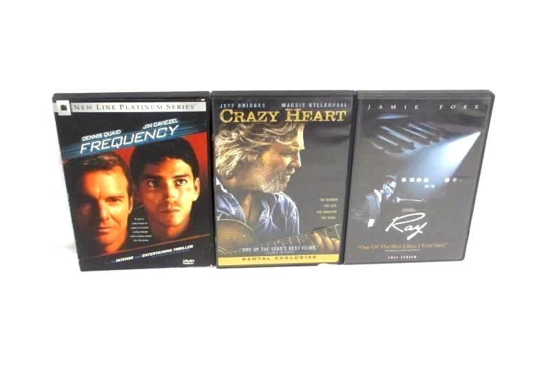 Lot of 3 DVDs: Frequency (2000) + Crazy Heart (2009) + Ray (2004) Rated PG-13/R
