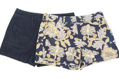 Lot of 2 Women's Sz 6 Ann Taylor Loft Riviera Shorts Flat Front Denim & Print