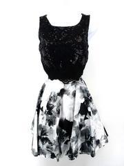 JODI KRISTOPHER 2 Piece Dress Floral Skirt Sequin Crop Top Homecoming Jr Sz 3