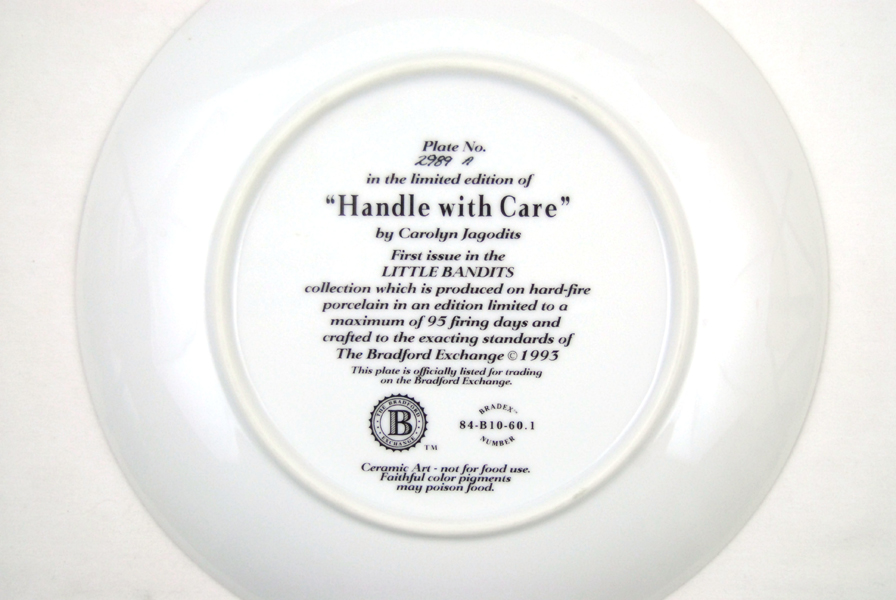 Bradford Exchange Handle With Care Little Bandits Carolyn Jagodits Plate No2989