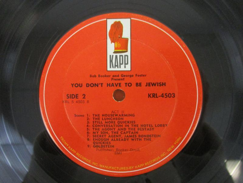 """Bob Booker & George Foster Present: You Don't Have To Be Jewish 1965 12"""" Vinyl"""