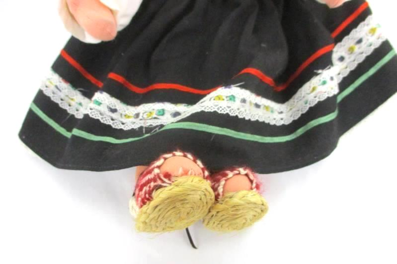 """Vintage Ethnic Cloth Doll Handmade Painted Face Poseable Body Braids  16"""""""