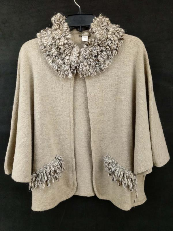 NORDSTROM Wool Blend Cape Shawl Beige Heather Boucle Fringe Made in Italy O/S