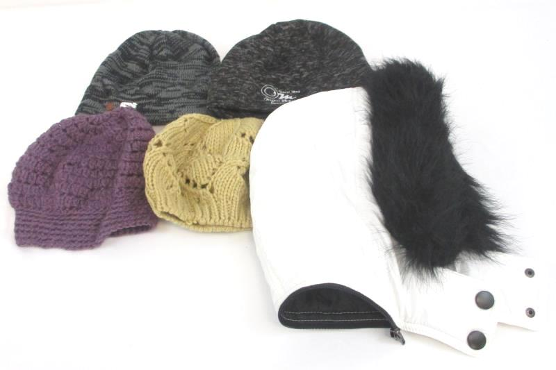 Lot of 5 Winter Purple Tan Knit Hats Oregon Mutual Riverdale Beanie Jacket Hood