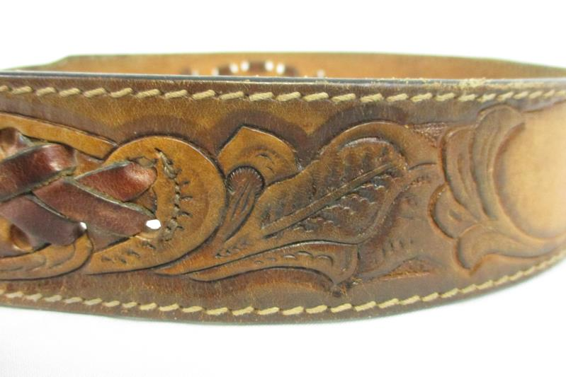 """Leegin Braided And Stamped Leather """"Becky"""" Belt W/ NFR 25th Anniversary Buckle"""