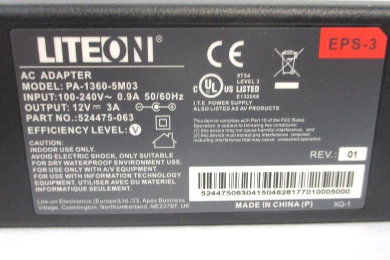 Liteon AC Adapter PA-1360-5M03 With Cord