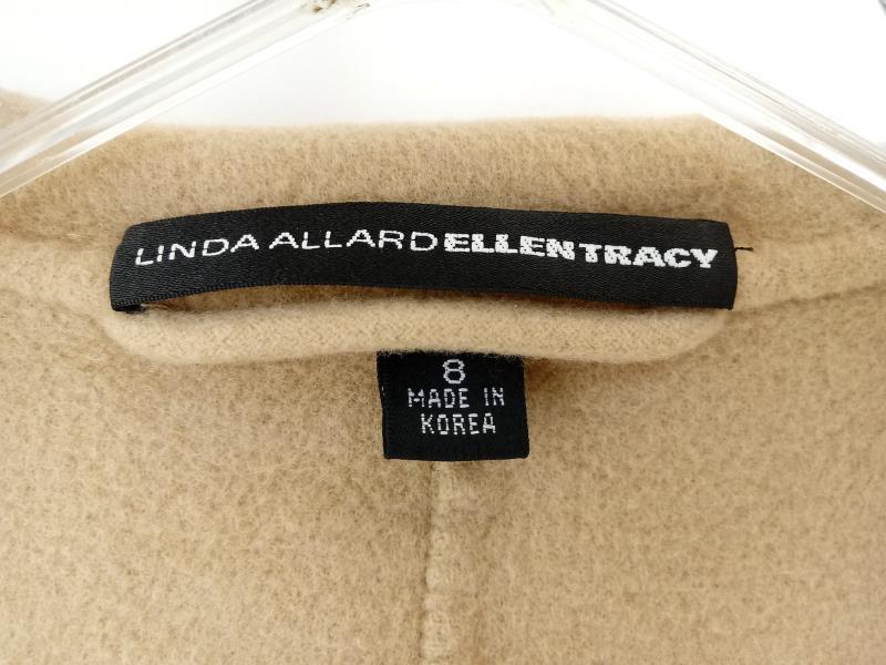 LINDA ALLARD ELLEN TRACY Open Blazer 100% Wool Beige w/ Lapel 3/4 Sleeve Women 8