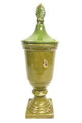 A&B Home Large Antiqued Ceramic Decorative Vase with Lid 22x7.5in Repaired