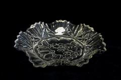 Vintage Clear Glass Dish w/ Octagon Bottom Scalloped & Saw Tooth Rim