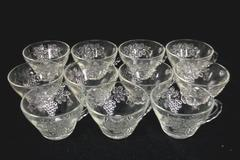 Set of 11 Hanging Punch Cups w/ Grapes & Vine Design Clear Pressed Glass