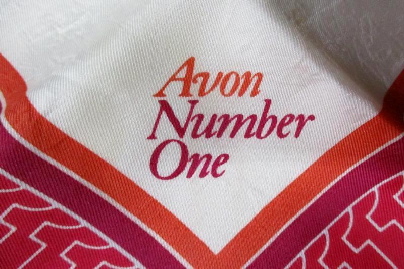 Vintage Avon Number One Acetate Twill Scarf Beige Red Orange Burgundy