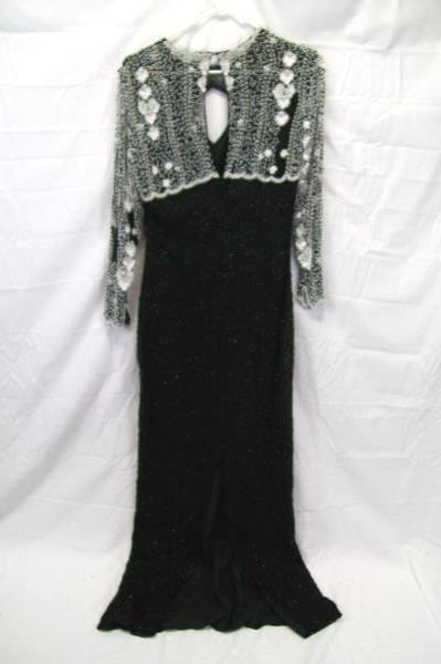 Black White Beaded Formal Holiday Evening Gown Size Small by LAURENCE KOZAR