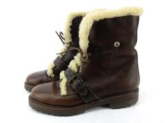 POLO RALPH LAUREN SPORTSMAN Leather Boot Brown Buckle Shearling Winter 8.5 AS-IS