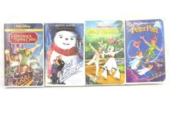 Lot of 4 Disney VHS Mary Poppins Jack Frost Hunchback of Notre Dame Peter Pan