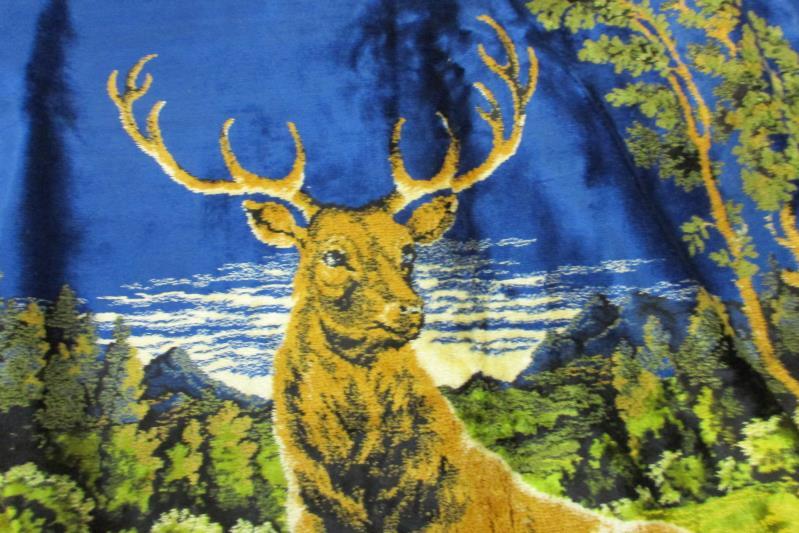 """Vintage Carpet Tapestry Deer Forest Pine Cone Outline 49"""" X 70.75"""""""