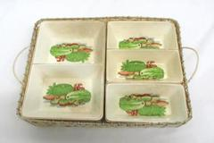 Vintage Porcelain Vegetable Tray Inserted In Wicker Basket Gold Trim 4 Pcs