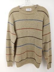 Vtg 80s PURITAN THERMAX Sweater Beige Striped Wool Blend Ski Pullover Men's L