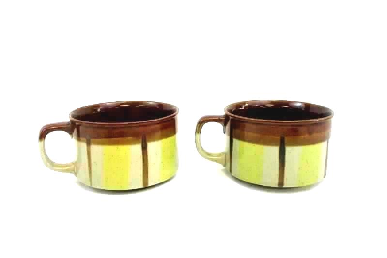 Lot of 2 Mugs Coffee Cups Brown Glazed Strokes Design Vintage