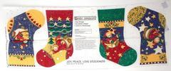 Daisy Kingdom Joy Peace Love 4 pc Stockings Fabric Panel UNCUT Christmas DIY