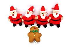 Lot Of 4 Plush Santa Ornaments Oriental Trading & 1997 Gibson Gingerbread Man