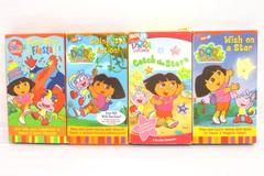 Lot of 4 Dora VHS Tapes: Fiesta Swing Into Action Catch the Stars Wish on a Star