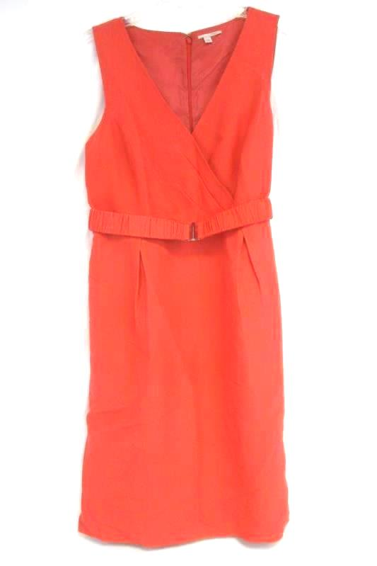 Women's Halogen Bright Salmon Zip Up Belted Pocketed A-Line Dress Size 10