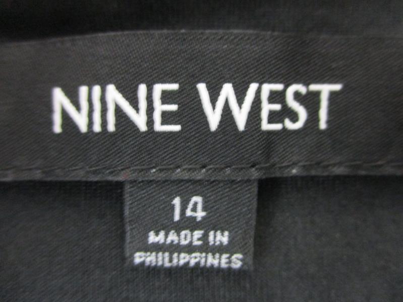 Nine West Women's Dress Black White & Grey Pattern Polyester Stretch Blend Sz 14