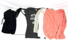 Lot of 5 Large M To S Women's Shirts 3 Shirts Navy Blue Lace-Up Gray Graphic