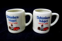 2 German Miniature Ceramic Schinken hager Beer Steins Mugs Shot Bavarian Hofbrau