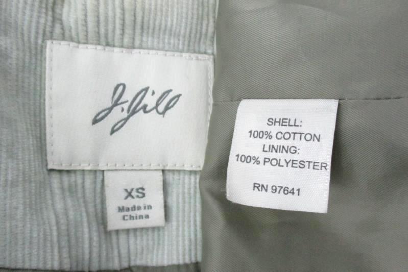 J Jill Corduroy Pea Coat Light Green Off White Button Up Women's Extra Small
